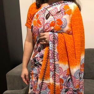 Vibrant orange SPRING saree
